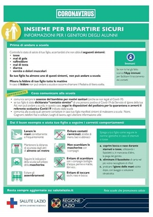 Coronavirus. Insieme per ripartire sicuri, informazioni per i genitori degli alunni